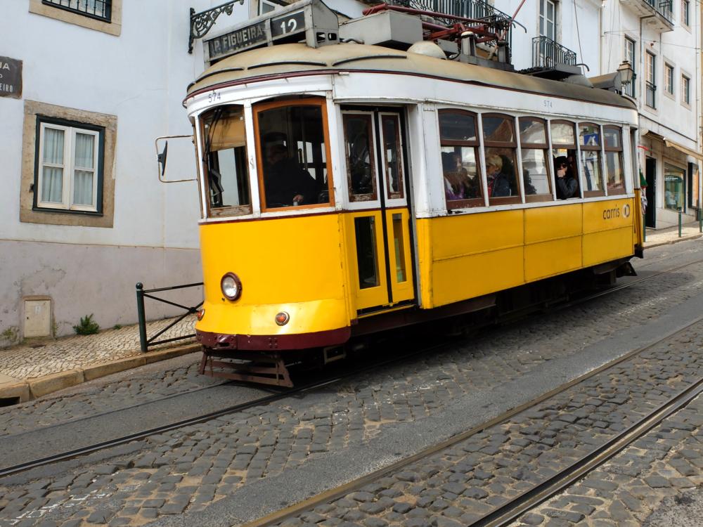 cable car Lisbon hello getaway cityguide yellow tram