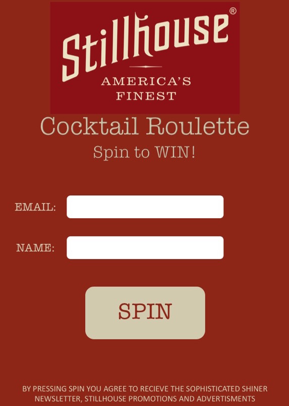 A fun &exciting way for the Stillhouse Ambassadors to collect consumer data at events & promotions. - Spin the wheel for a chance to win Stillhouse swag, gift cards &more.Each customer who spins is required to