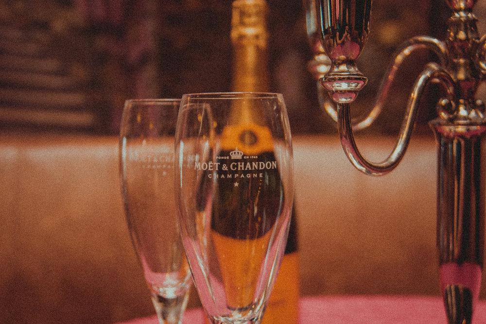 PASSED WHITE WINE & CHAMPAGNE - white wine, champagne, water, rentals, staff