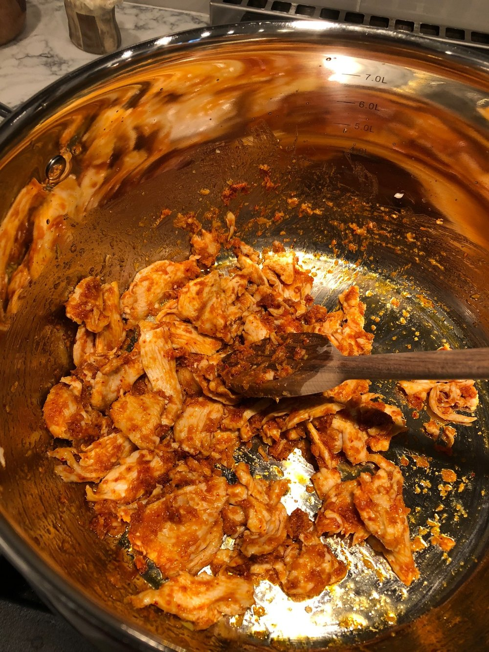 Chicken mixed with curry paste, garlic and ginger