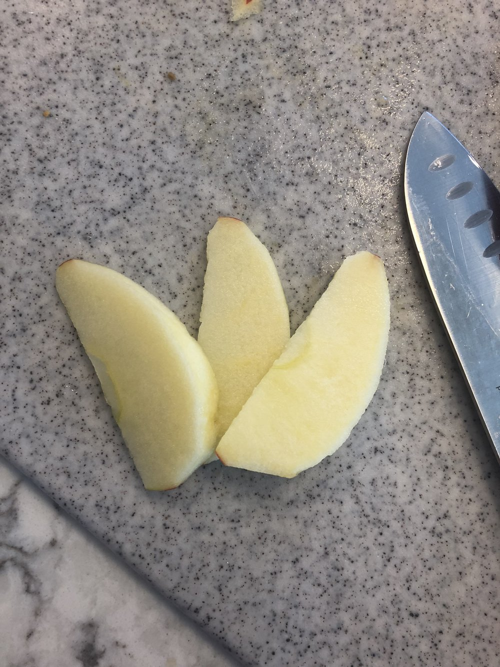 I will then take the large segments and cut them into thinner slices
