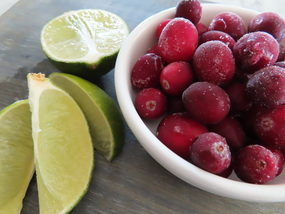 Lime and Frozen Cranberries for the Garnish