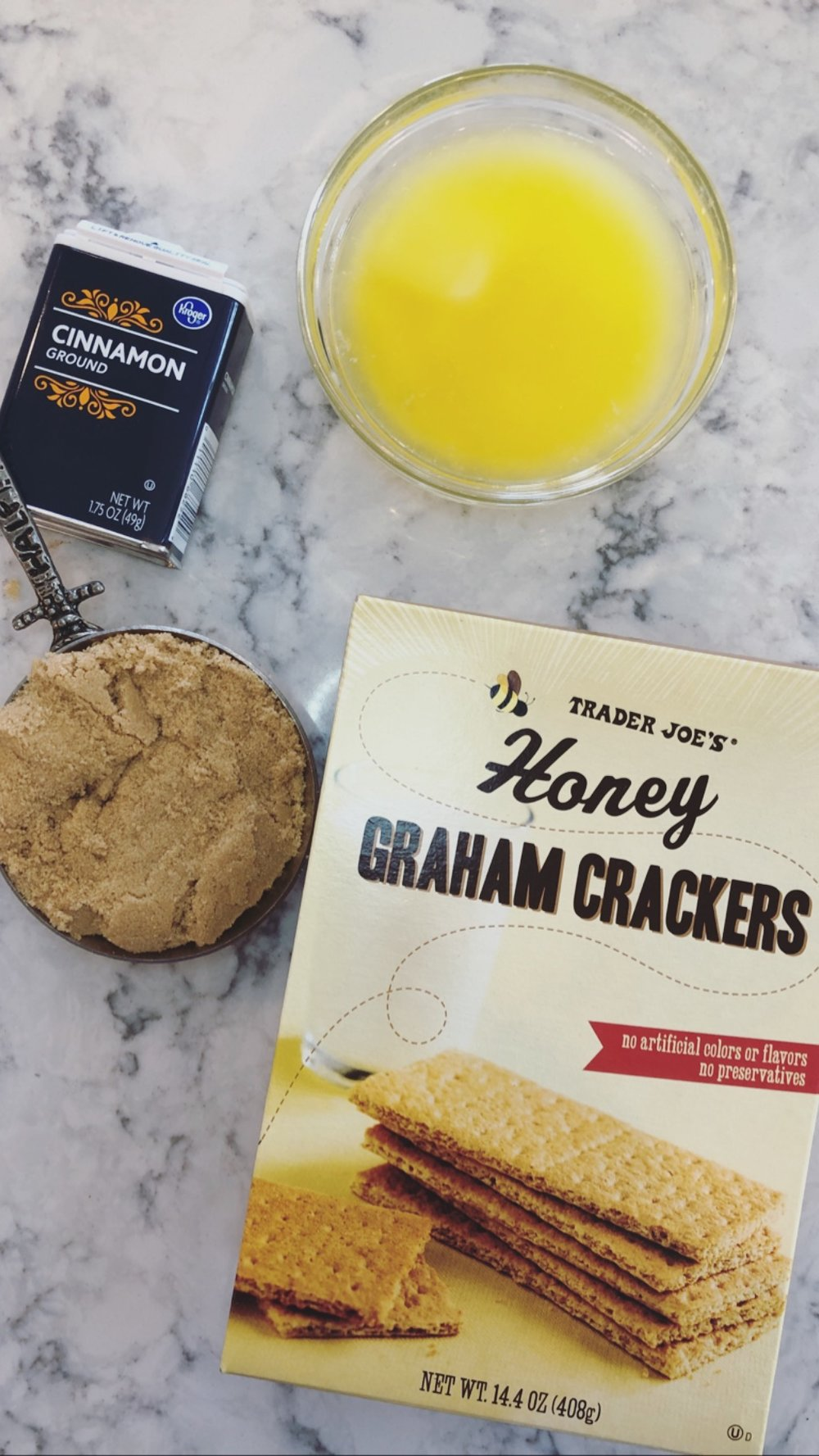 Ingredients you need, melted butter, brown sugar, cinnamon and graham crackers.