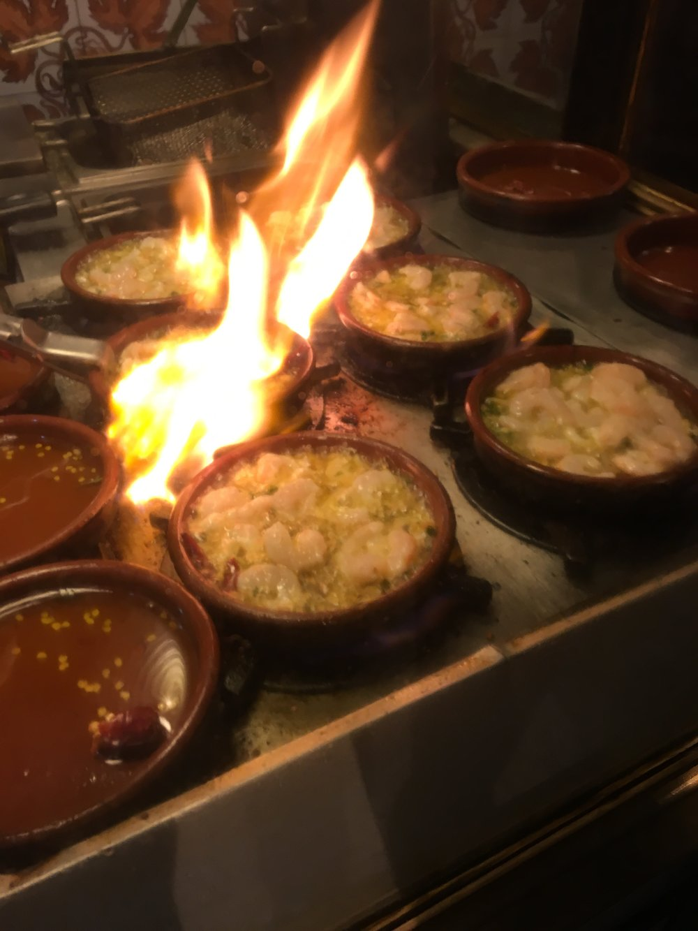 Flaming Gambas ala Ajillo in Spain - 2016