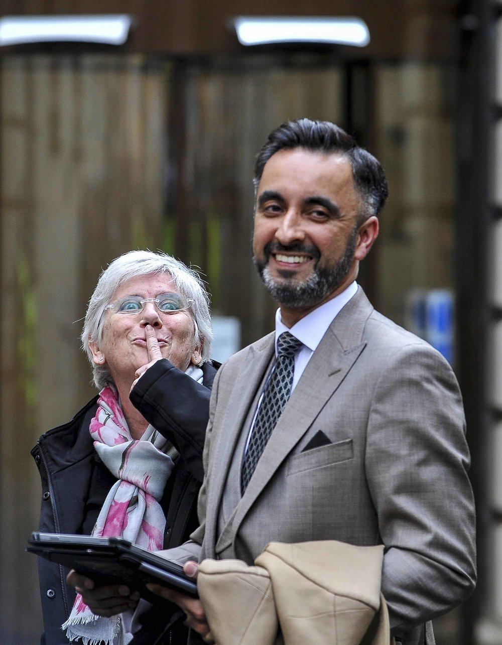 Clara Ponsati quietens the crowd at Court E.jpg