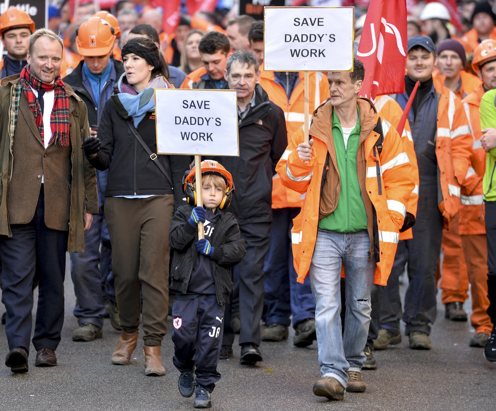 Son marches through Edinburgh to save his father's job at Bi Fab..JPG