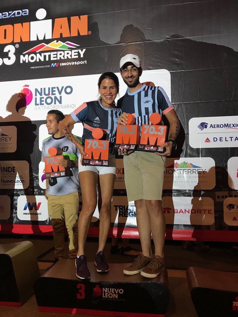 3er Lugar en Relevo Mixto. Monterrey 70.3  Mayo 13, 2018