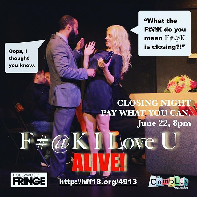 Closing the F#@K down!! *LINK IN BIO!* 🖕👁❤️U - - - #filoveu #fringe #webseries #tickets #onsale #luckymor #luckycreates #production #livetheatre #hff18 #drama #actorslife #hollywood #love #play #inclusive #theatre #relationships #acceptance #dramedy #moving #family #thecomplex #stageplay #playwright #actor #stage