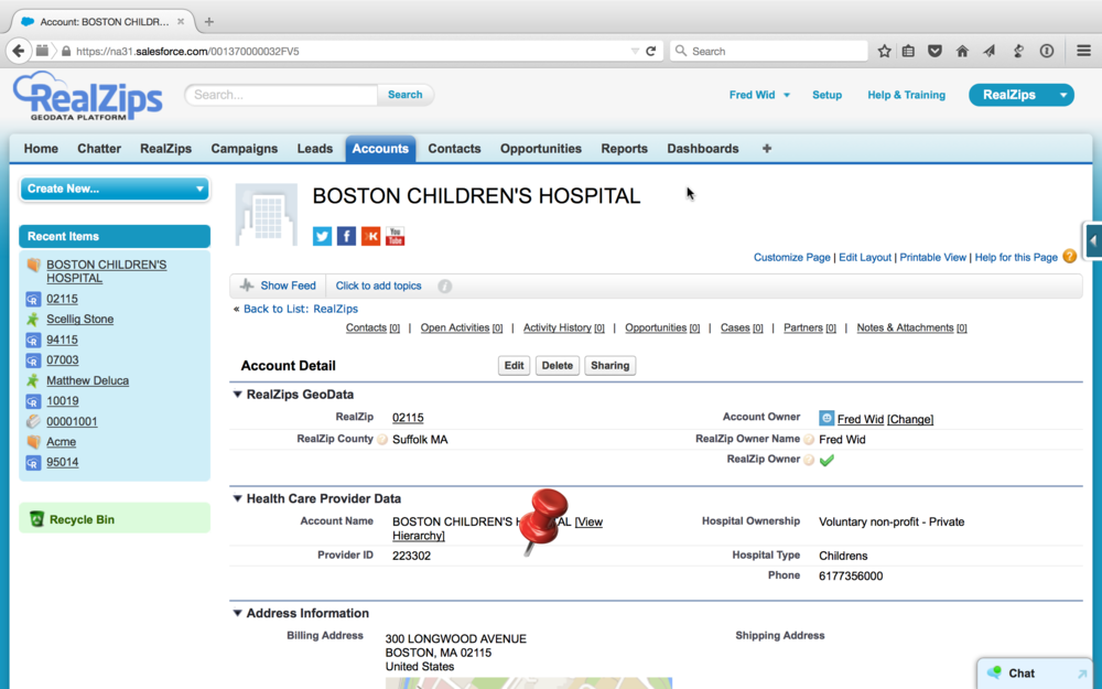 Hospital record with Provider ID and Hospital type. RealZips for Life Sciences comes with 4,800 hospital records.