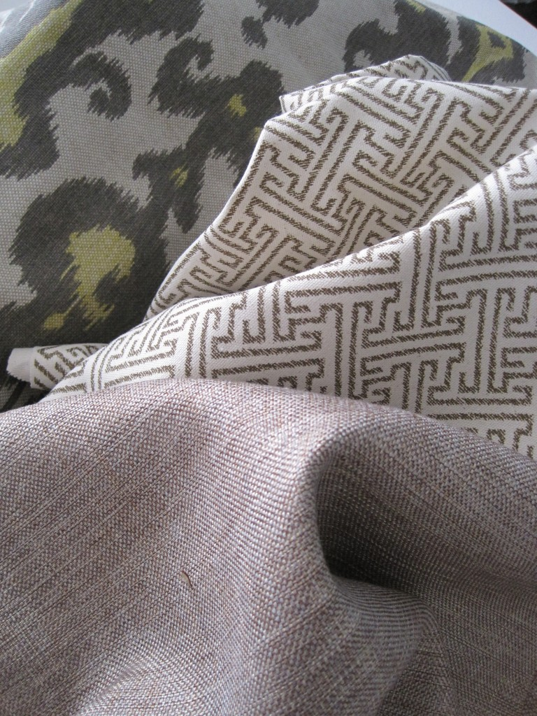 ikat, geometric, and metallic pillow fabrics