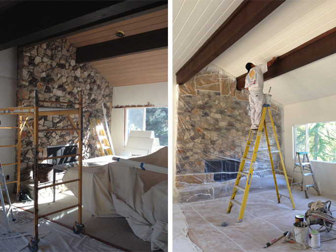 before and after painted ceiling cocoon home