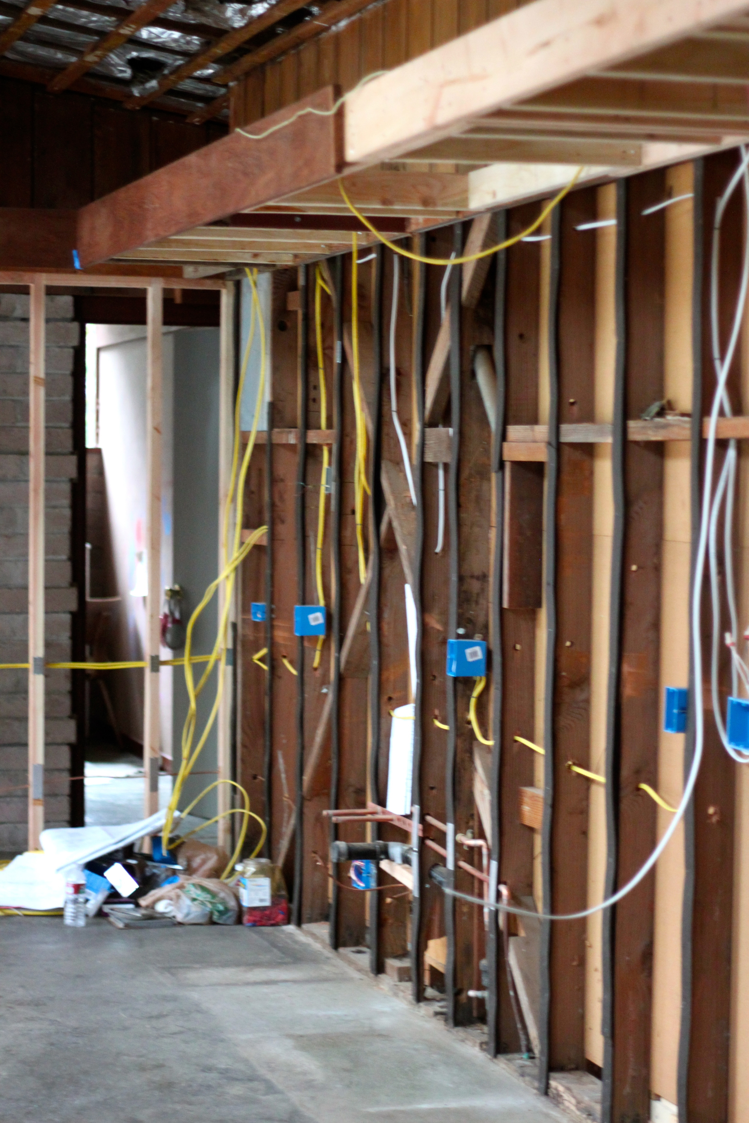 Kitchen Renovation Part 2 Cocoon Home New Electrical Wiring Now That The Walls And Ceiling Of Our Have Been Exposed Boxes Are Being Installed Valances So Typical
