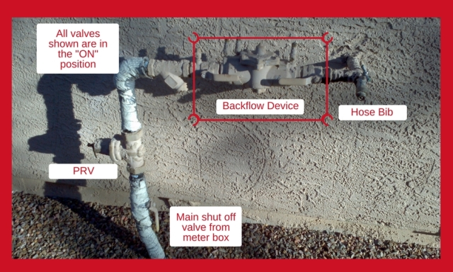 Example of an installed backflow assembly