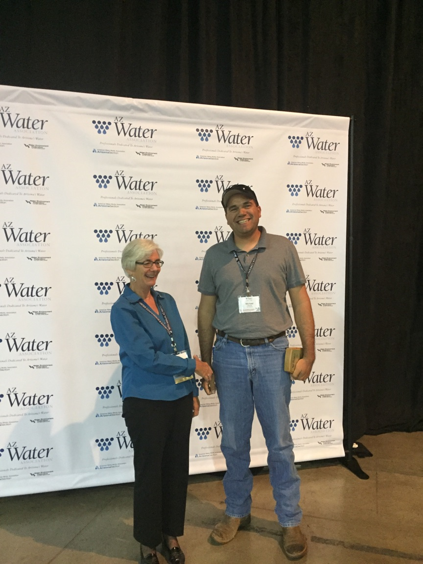 Mike with AZWater president Marie receiving his award for Operator of the Year - Wastewater Treatment Plant: Small System