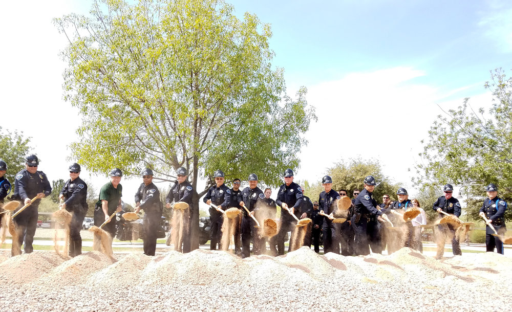 Town of Marana police break ground for the new police facility.