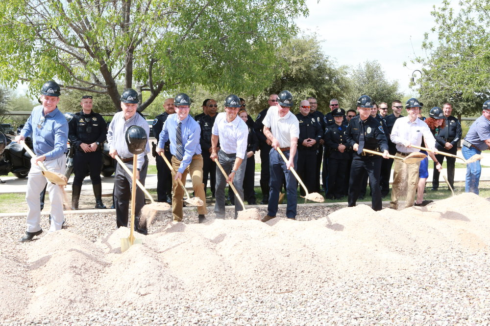 Left to right: Michael Rosso and Joe Salvatore from Architekton, Richard Carr from Abacus, Todd Steffen and Mike Stecyk from CORE, Marana Police Chief Rozema, Jake Otten, Nichole Kotsur and Tracy Garrison from CORE.