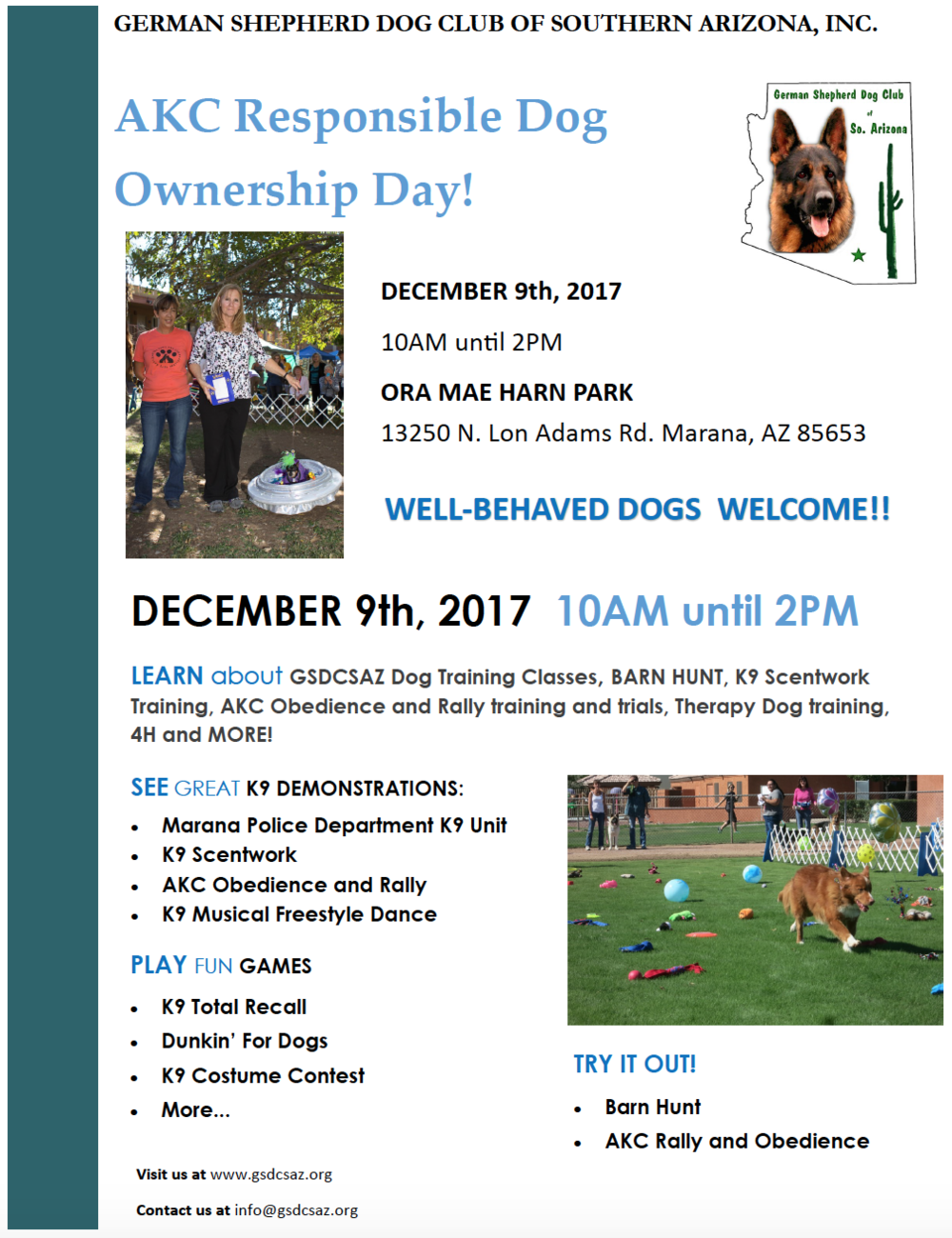 Akc Responsible Dog Ownership Day Town Of Marana