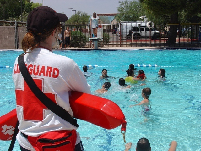 Student lifeguard ready to assist