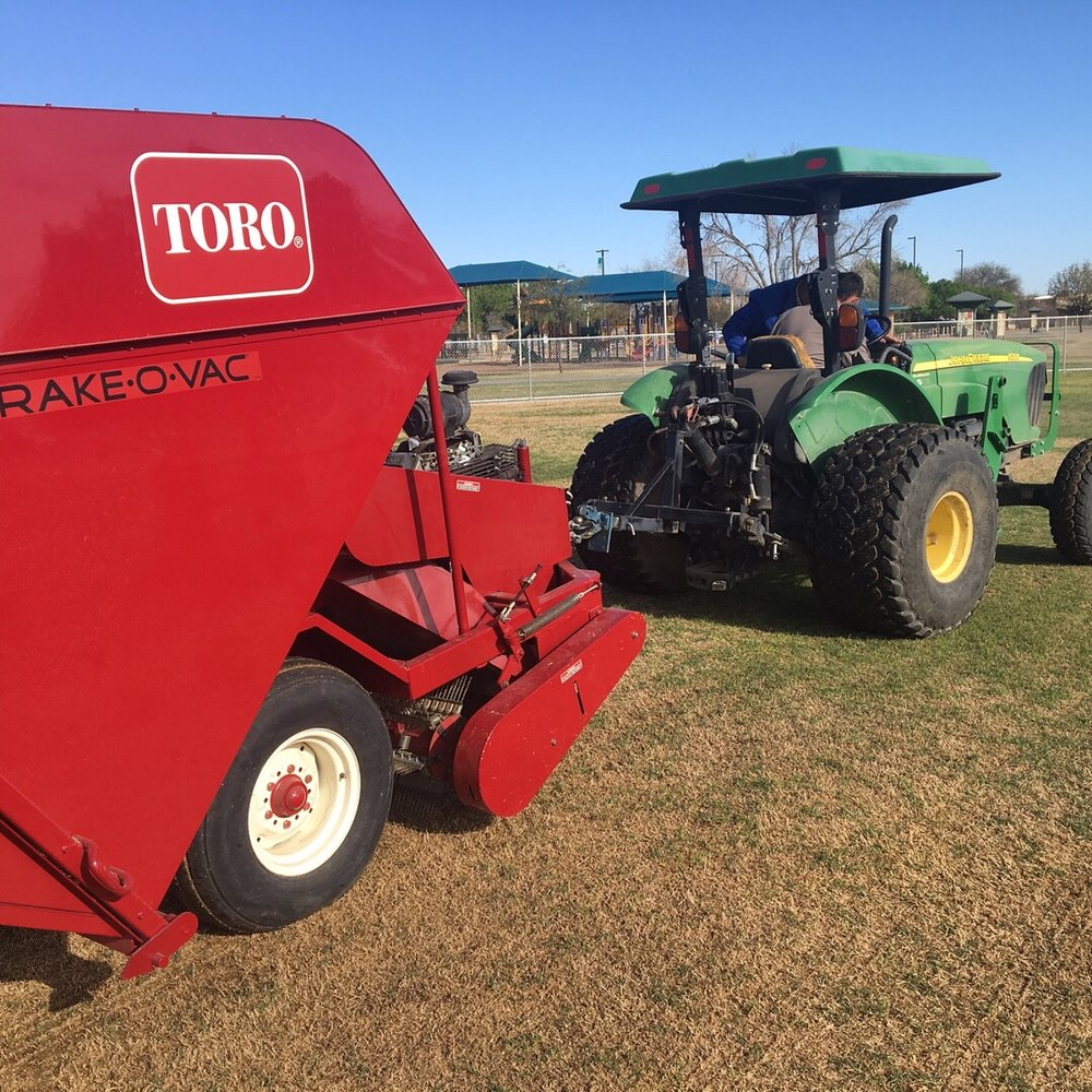 The Rake-O-Vac was utilized to remove burrs from fields, but it is also improving the turf.