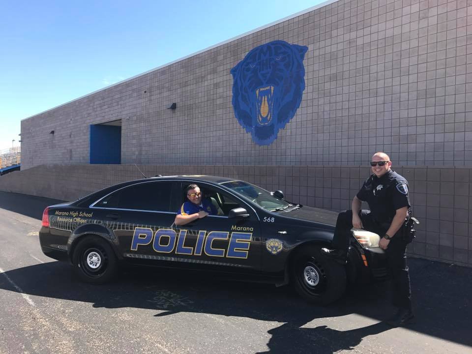 Marana PD School Resource Officer (SRO) David Samorano and Marana High School Principal Dr. David Mandel. (Photo Courtesy Marana Unified School District)