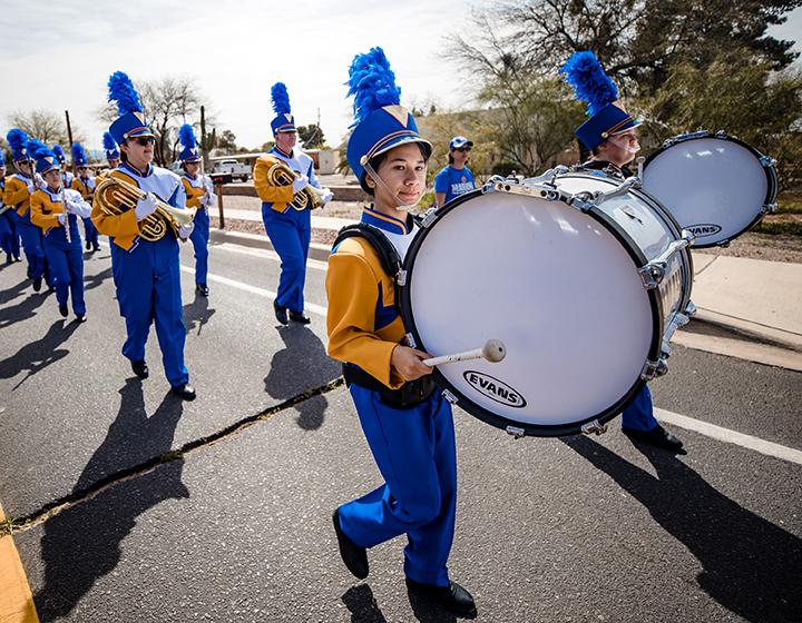 The Marana High School marching band.