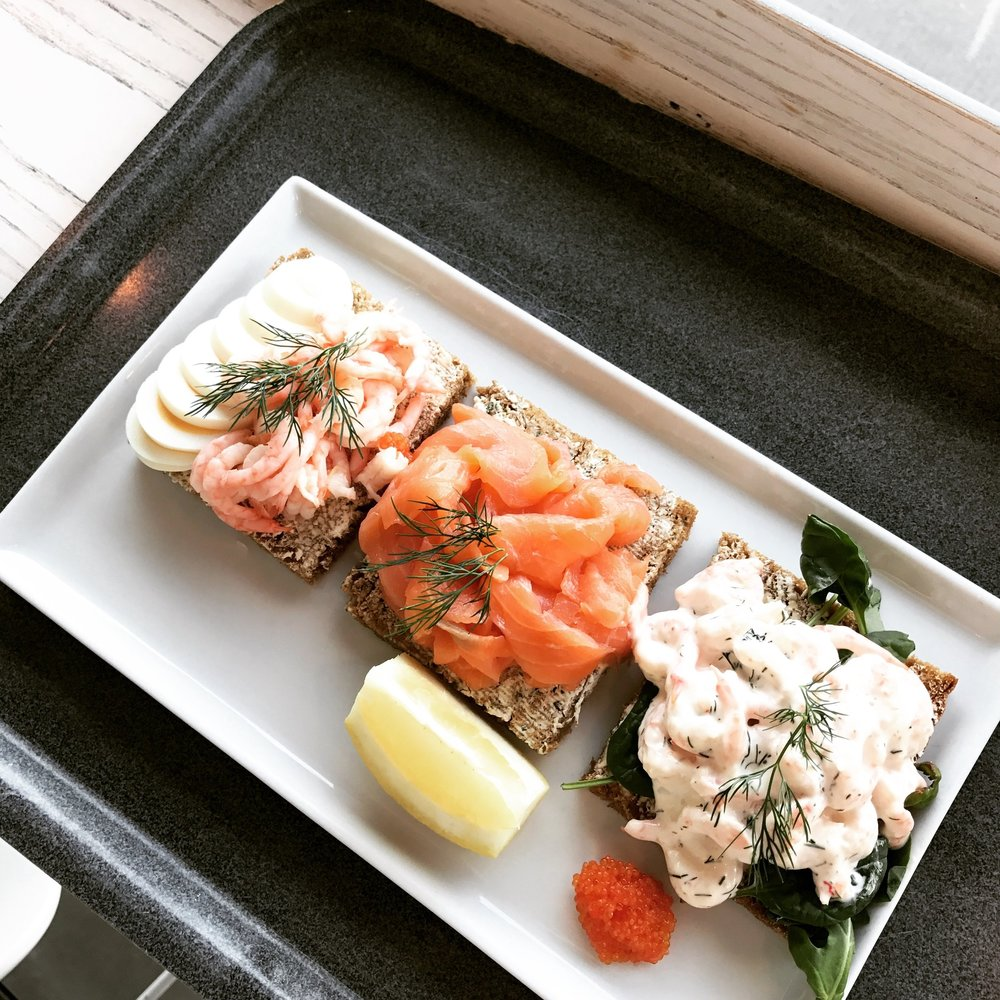 Shrimp and salmon toast from the *fancy* airport in Stockholm. I loved everything about Stockholm, including the toast!