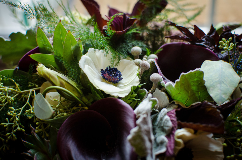 White Anemone and Purple Calla Lily Assortment (Photo Credit: Higher Focus Studios)