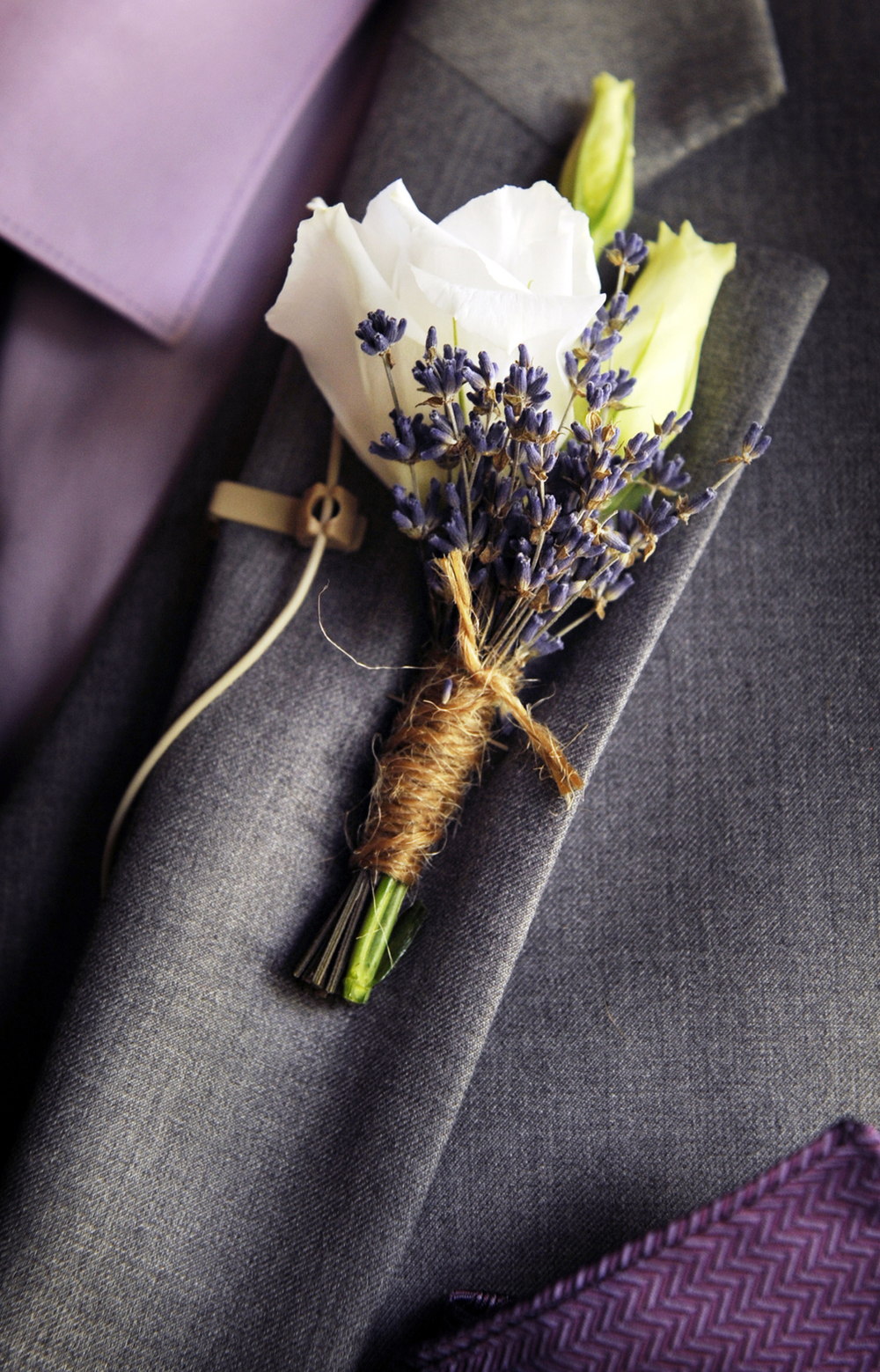 Lavender and White Boutonniere (Photo Credit: Julia Rendleman Photography)