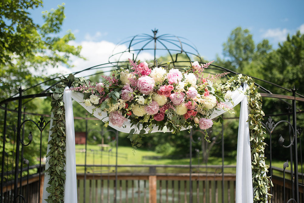 White and Pink Florals on Trellis (Photo Credit: Karlo Photography)