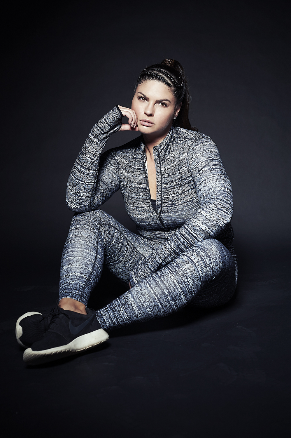 "Me as a plus size model, feeling healthy and strong as a size 14/16, 210lb woman at 5'10.5"". Photo by Elina Khachaturyan, hair by Christine Poindexter, outfit by Nike."