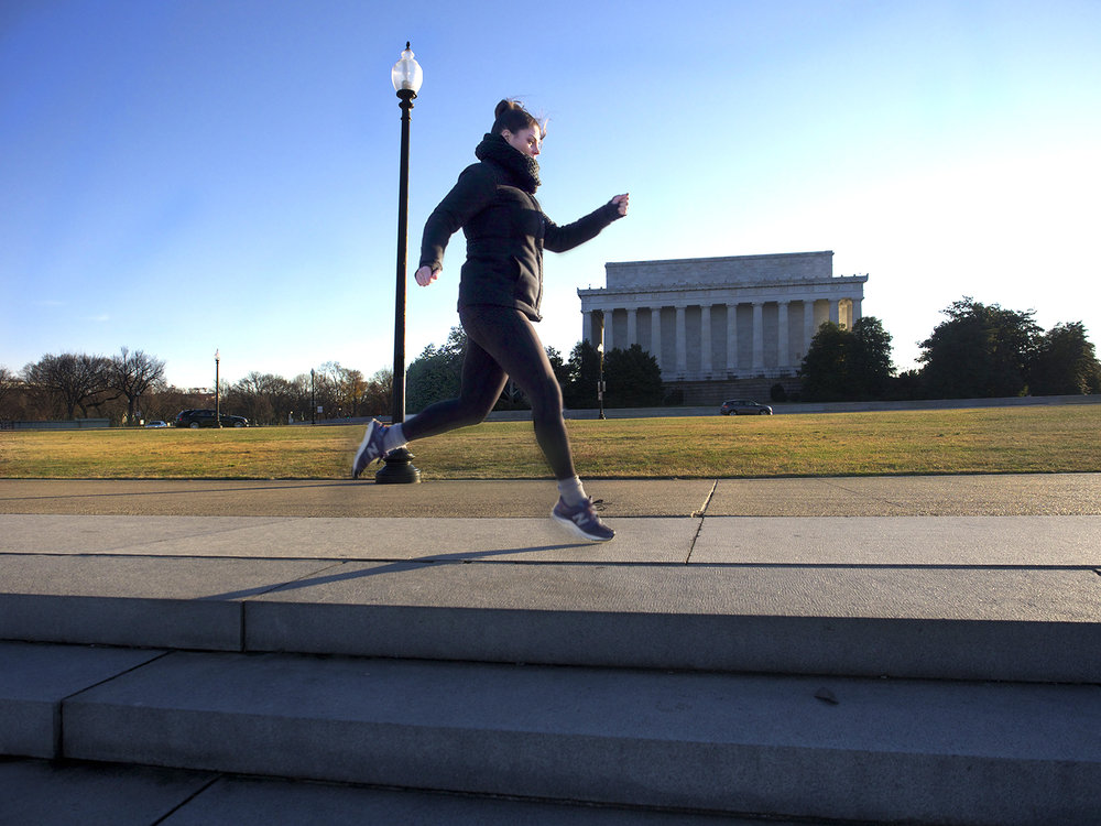 Frolicking around the Lincoln Memorial, photo by Caroline DeSantis