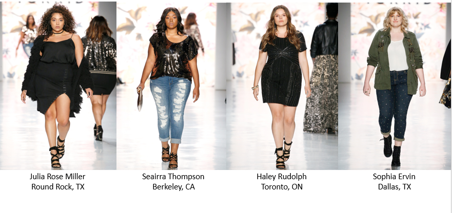 The top four finalists for Torrid Model Search 2017