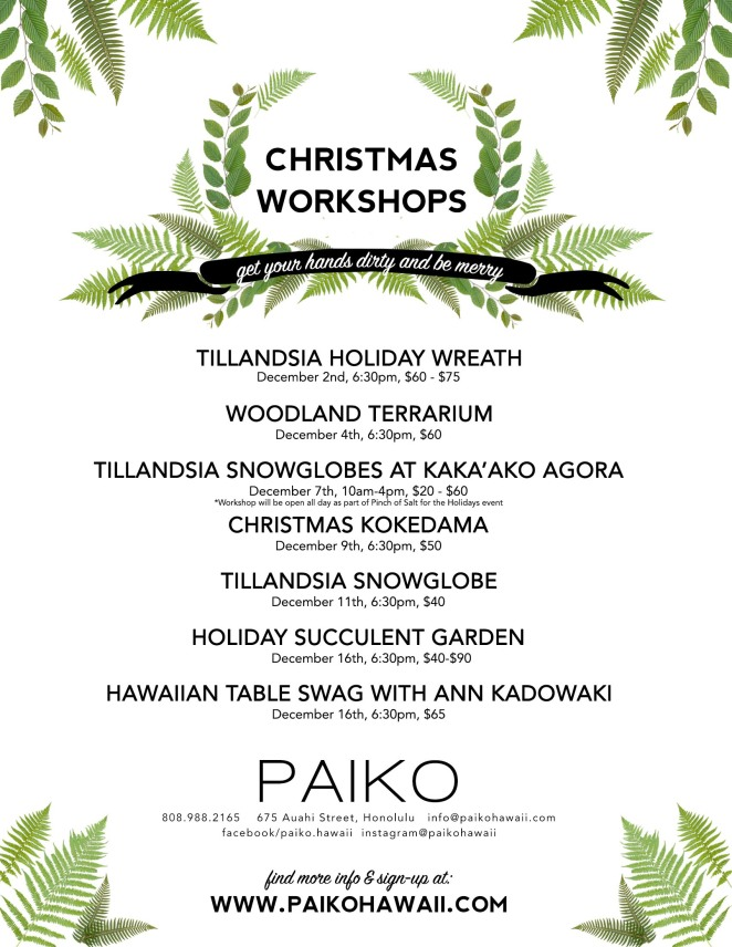 paiko holiday workshop flyer