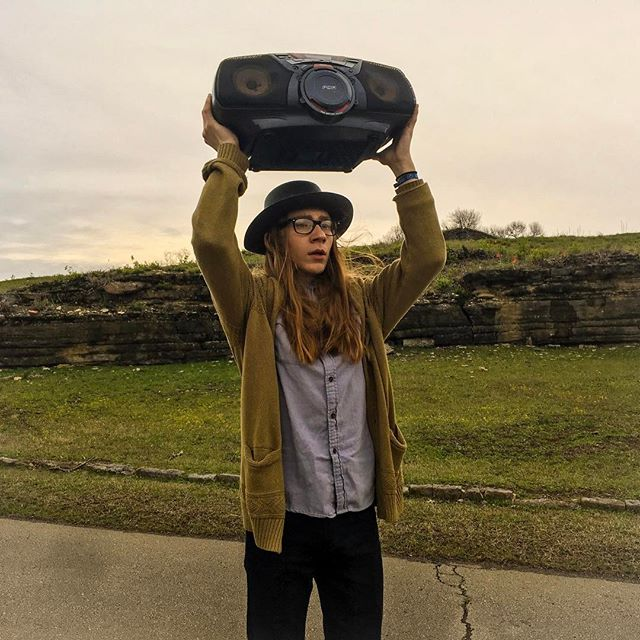 Just @sammybrue on location for a video shoot...doing his best John Cusack impression.