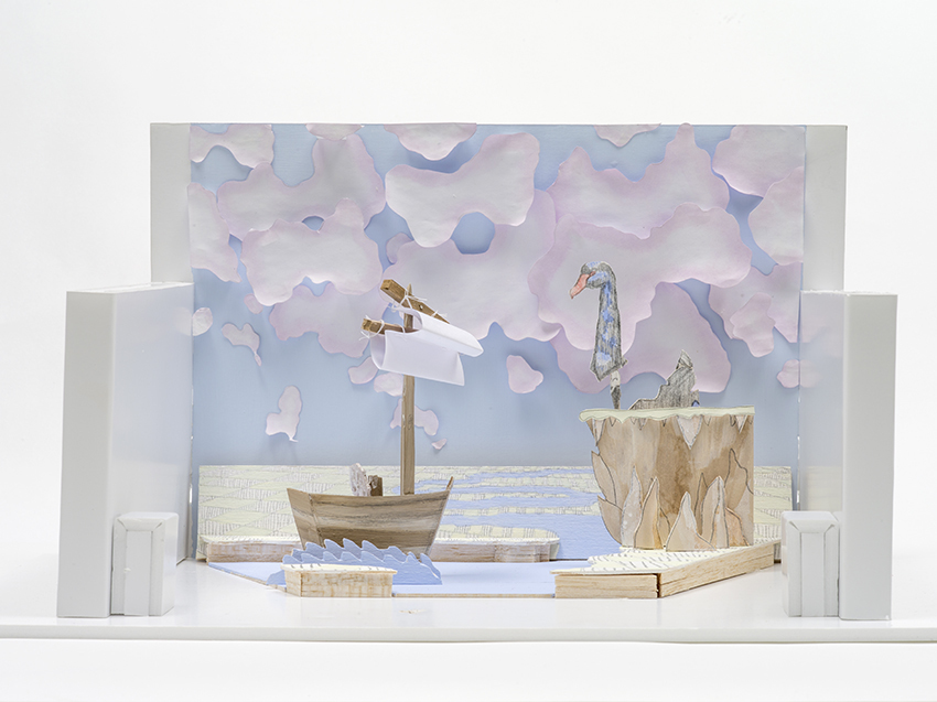 Swan Song Model, 2014, Paper, watercolour, pencil, balsa wood, foam core and string, 40.0 x 30.0 x 20.0 cm, Photo: Carl Warner and Museum of Brisbane