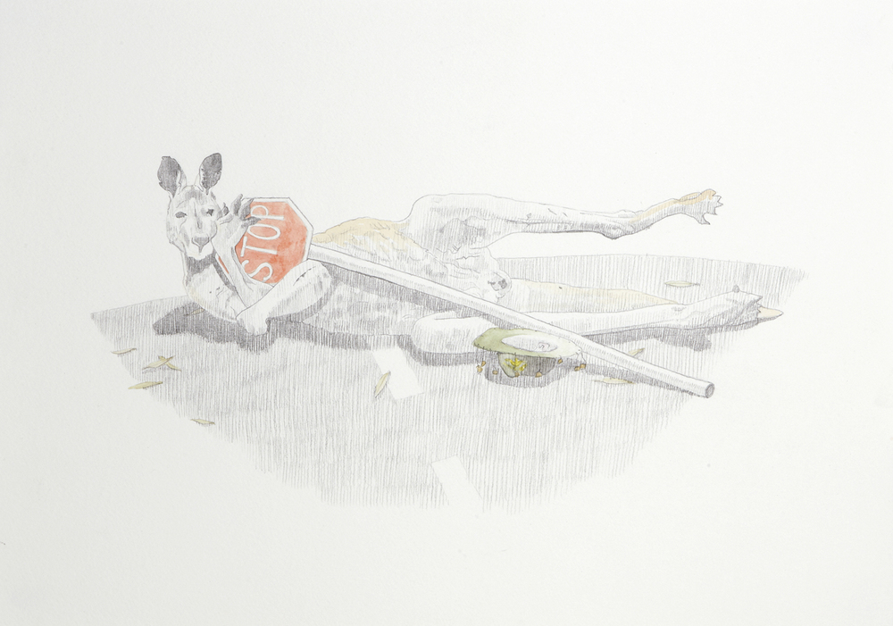 Car Jack, 2012, Watercolour and pencil on paper, 29.0 x 42.0 cm, Photo:Sam Scoufos