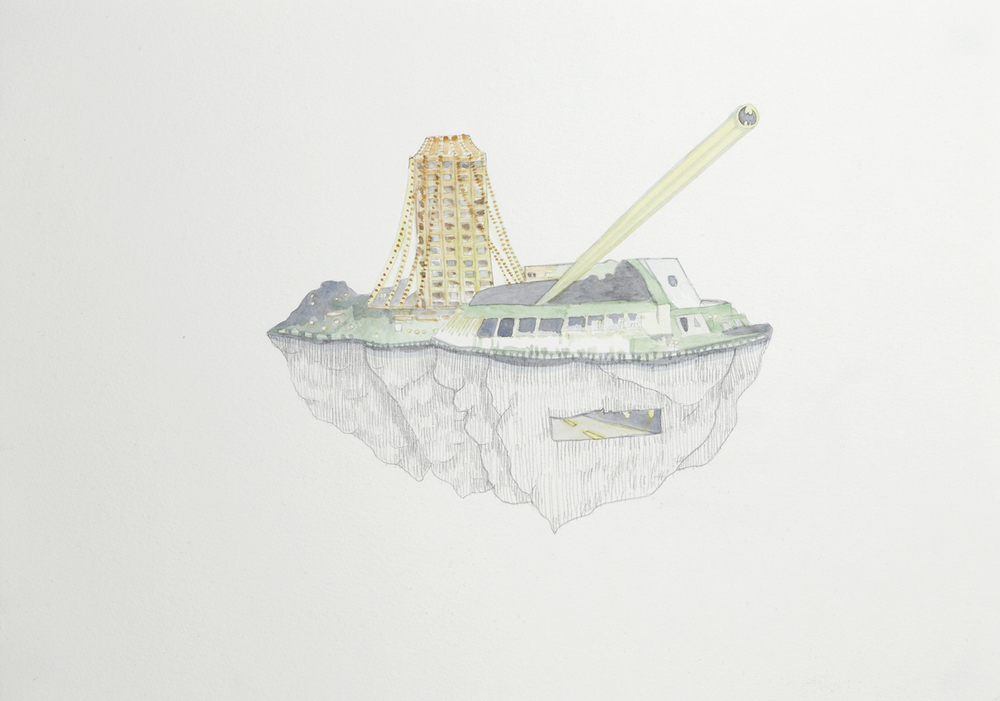 Tasmanian Casino, 2012, Watercolour and pencil on paper, 29.0 x 42.0 cm, Photo: Sam Scoufos