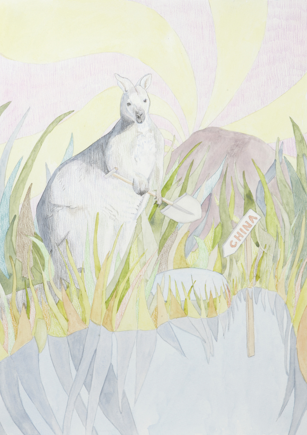 Digging for China #3, 2012, Watercolour and pencil on paper, 29.7 x 42.0 cm, Photo: Sam Scoufos