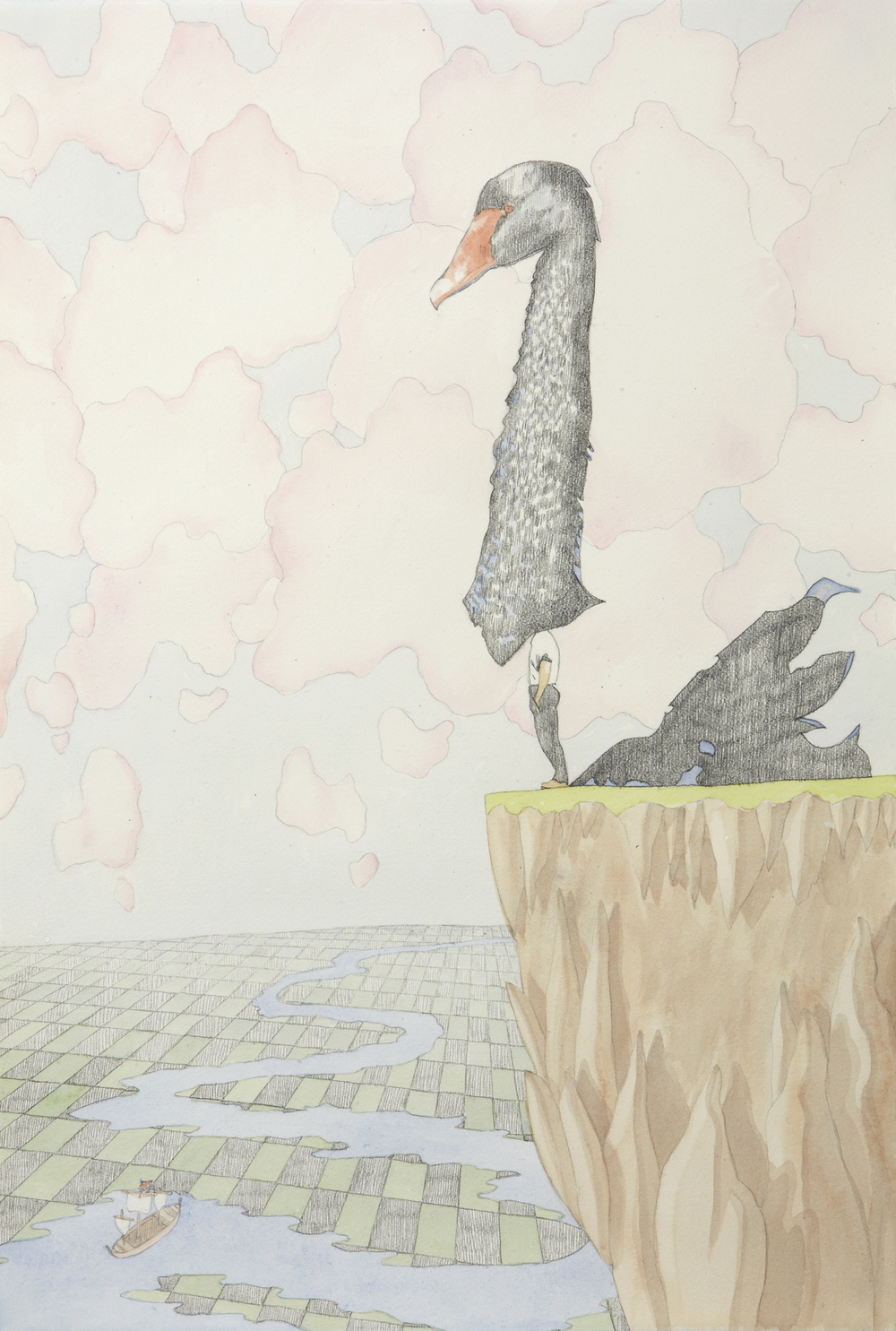 Swan Song #4, 2012, Watercolour and pencil on paper, 38.5 x 56.5 cm, Photo: Sam Scoufos