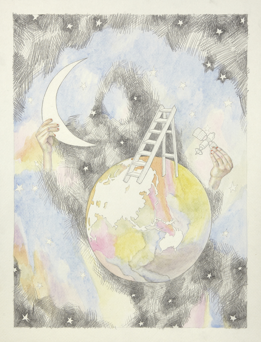 Circle and Moon #2, 2012, Watercolour and pencil on paper, 30.0 x 40.0 cm, Photo: Sam Scoufos