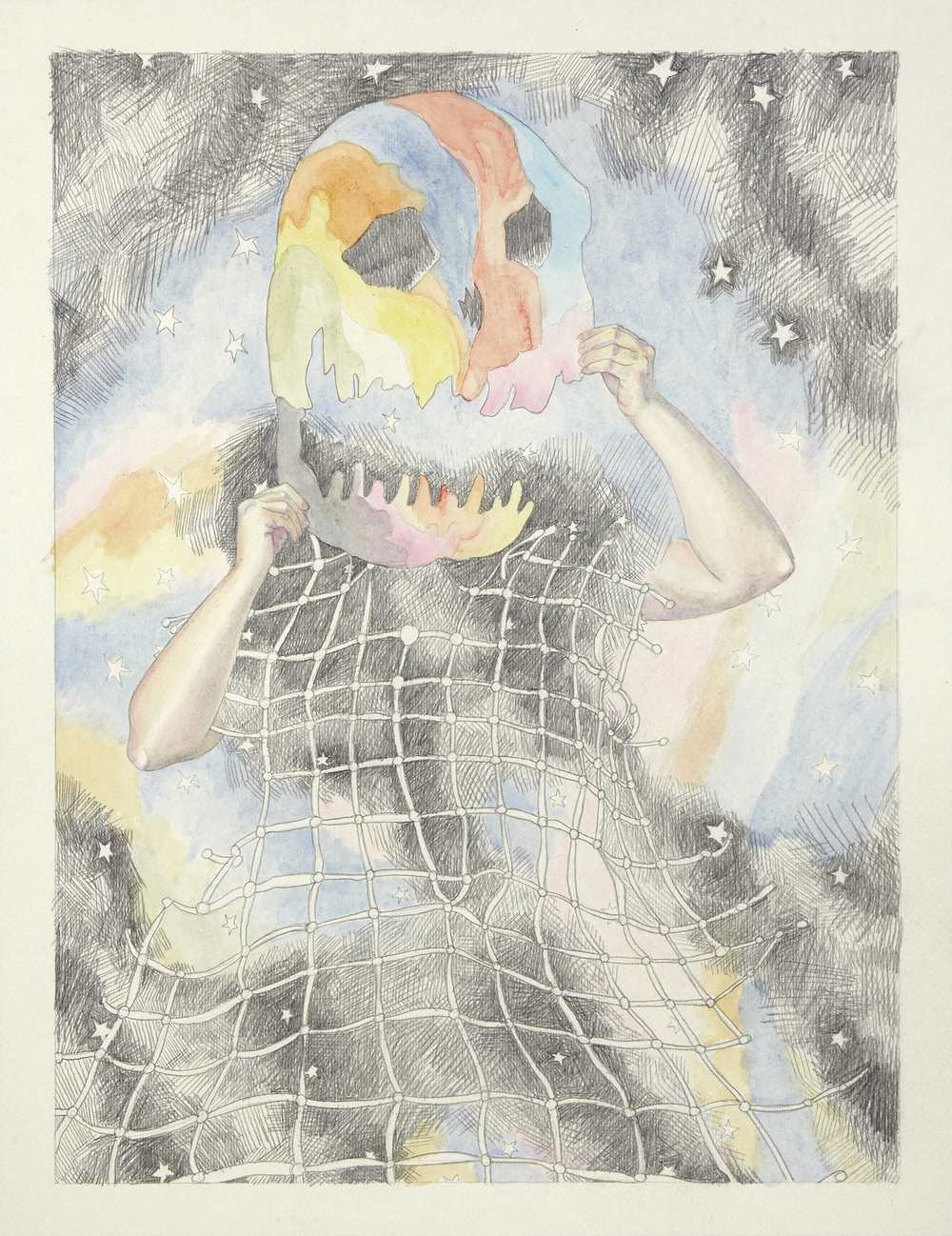 Skull and Death #2, 2012, Watercolour and pencil on paper, 30.0 x 40.0 cm, Photo: Sam Scoufos