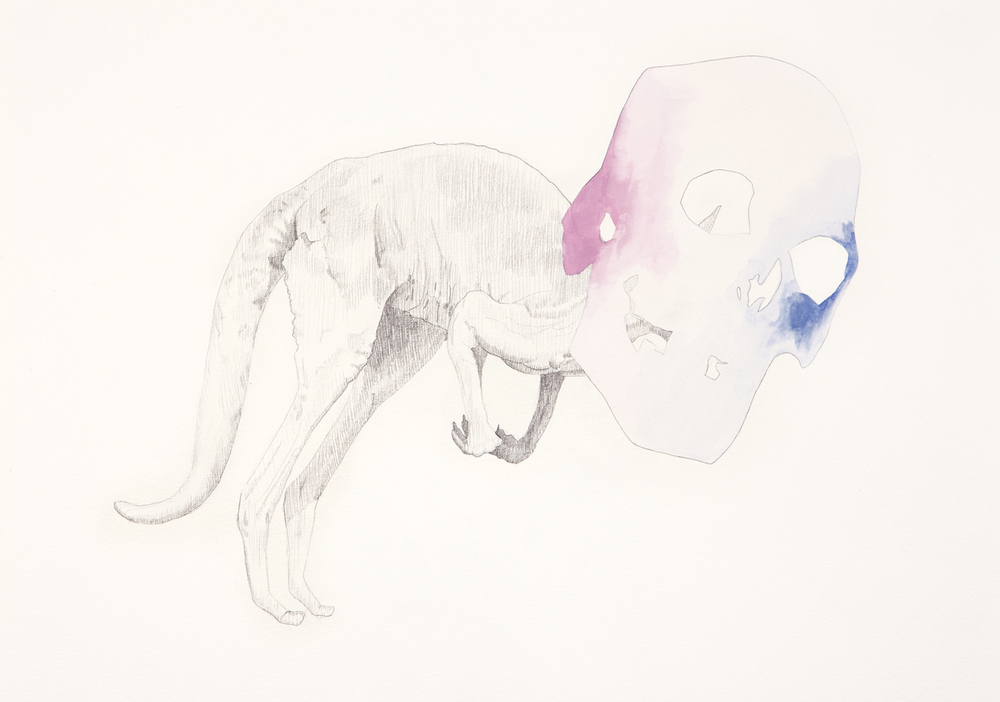 Skull Centric Behaviour #17, 2011, Watercolour and pencil on paper, 42.0 x 29.7 cm, Photo: Sam Scoufos