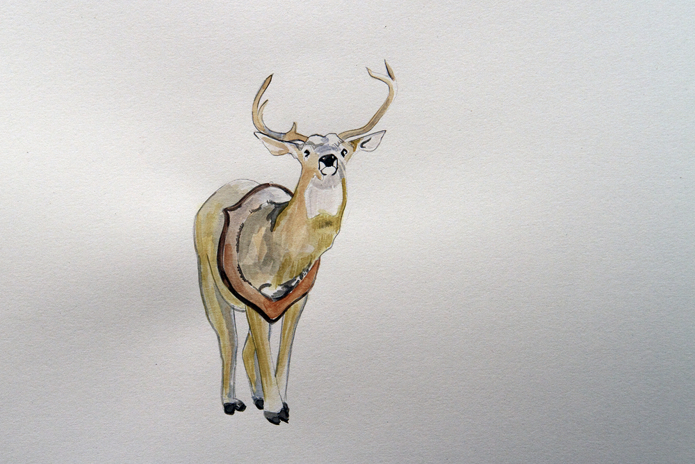Stag Party, 2010, Watercolour on paper, 29.7 x 42.0 cm, Photo: Michaela Gleave