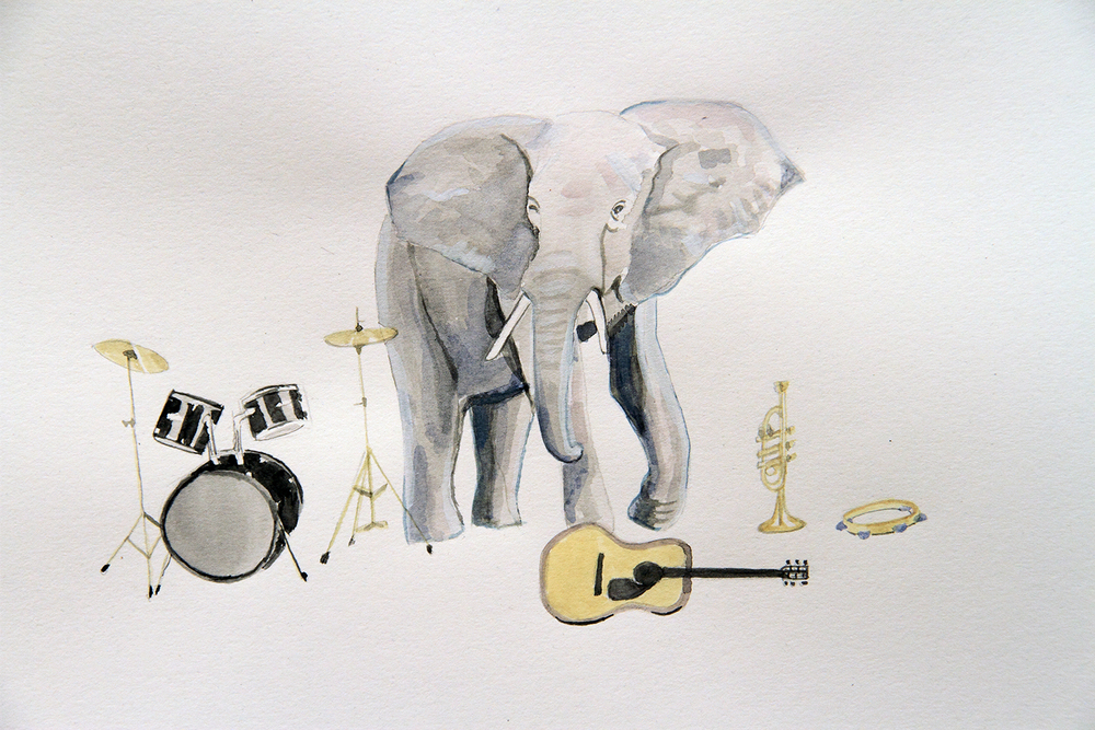 The Bands All Here, 2010, Watercolour on paper, 29.7 x 42.0 cm, Photo: Michaela Gleave