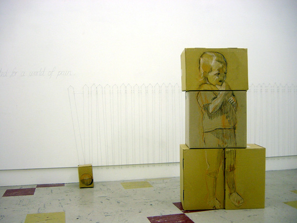 youse have voted for a world of pain (installation detail) 2005, Cardboard, pastel, packing tape, pins, thread, Dimensions variable, Photo: Jarrod Rawlins