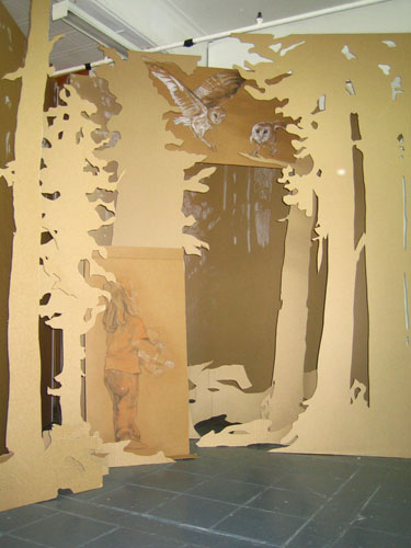 Do you fear what I fear? (installation detail), 2005, pastel on cardboard, dimensions variable