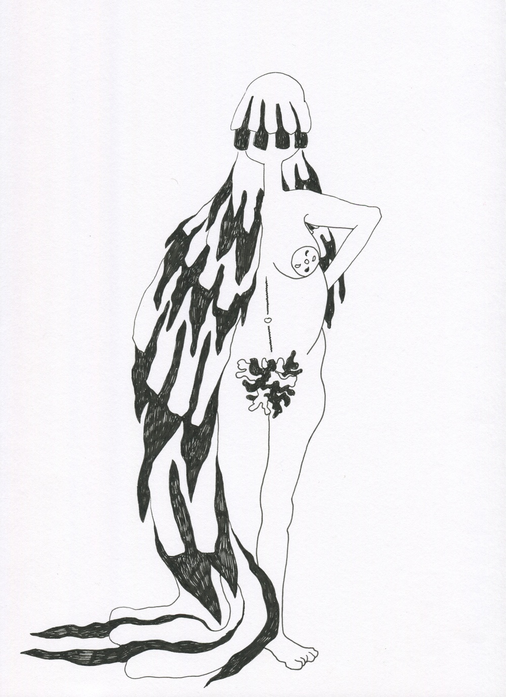 Feminine Wrappings from the Venus of Brisbane series, 2015, Ink on paper, 21.0 x 30.0 cm
