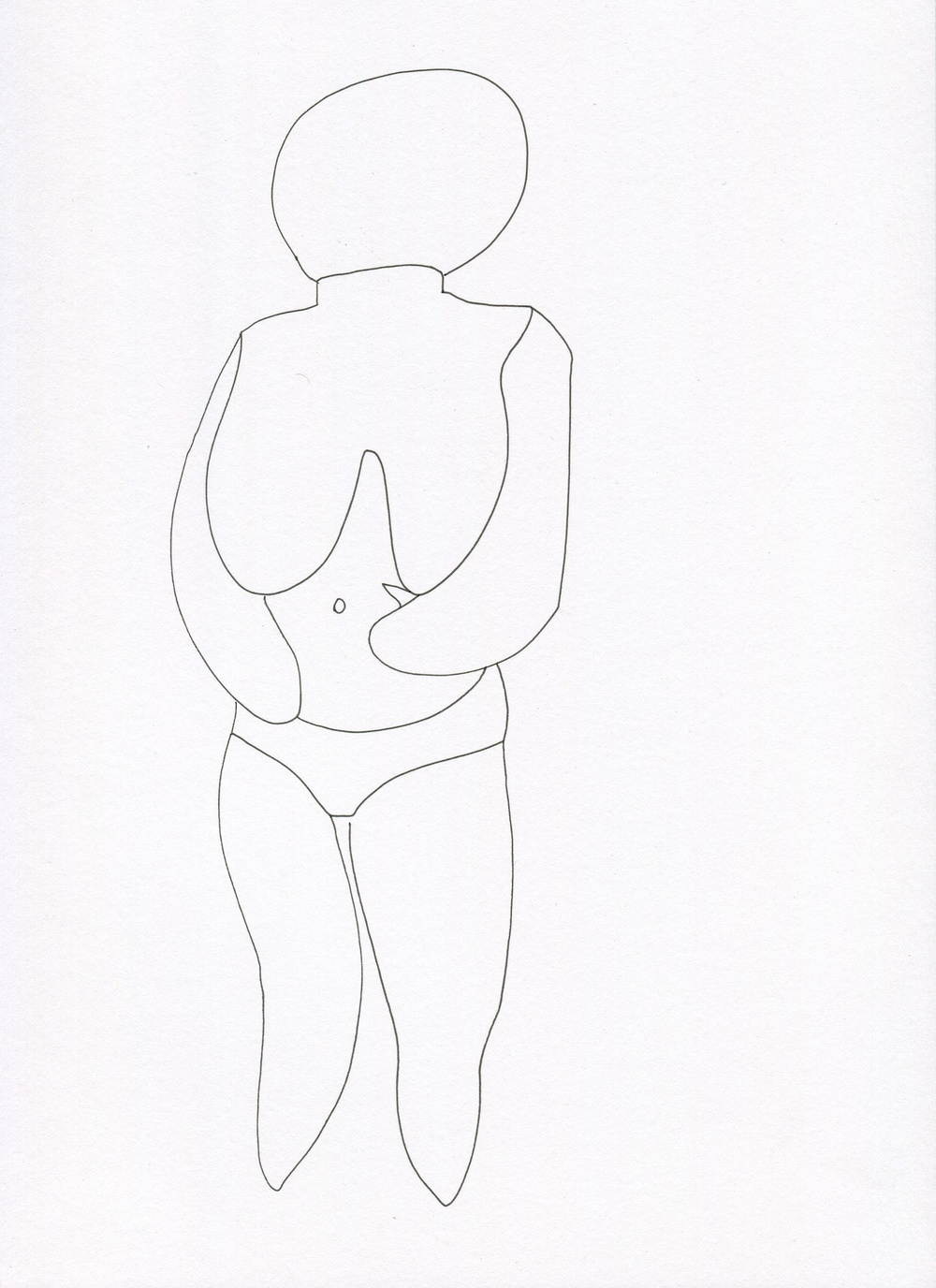 Statuette from the Venus of Brisbane series, 2015, Ink on paper, 21.0 x 30.0 cm