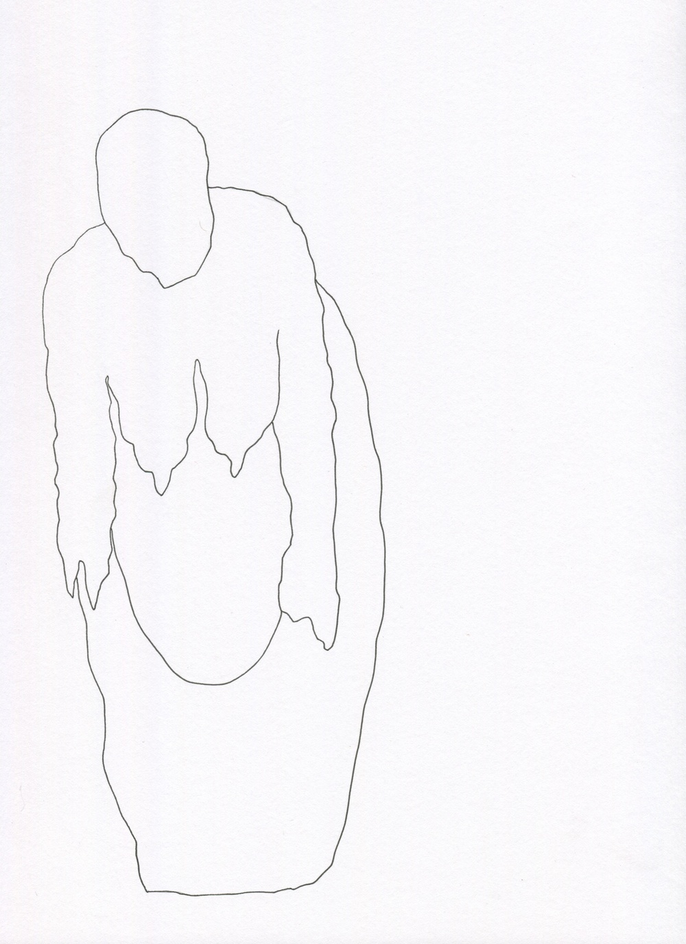 Swelling and Sagging from the Venus of Brisbane series, 2015, Ink on paper, 21.0 x 30.0 cm