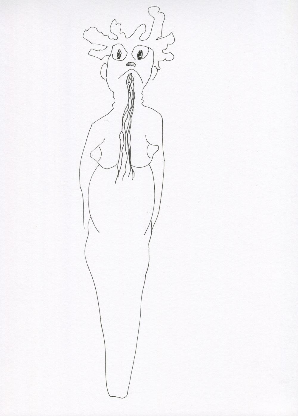 Grrrr....Aaaah from the Venus of Brisbane series, 2015, Ink on paper, 21.0 x 30.0 cm